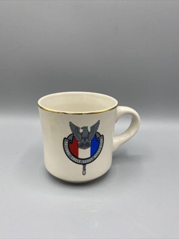 Vintage National Eagle Scout Association Coffee Mug Gold Rim