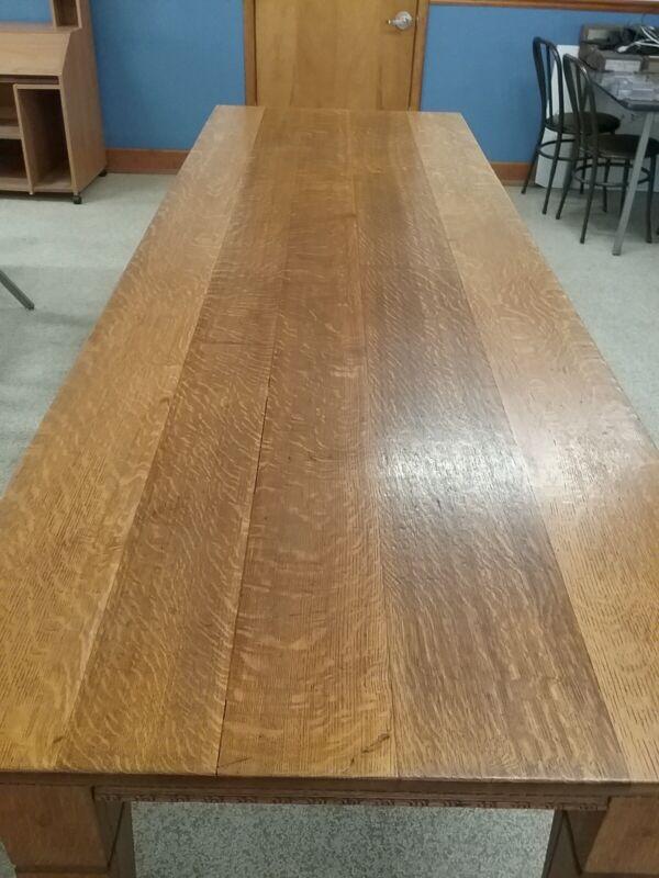 Antique 10ft Long Quarter Sawn Oak Table