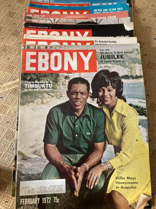 vintage ebony magazine lot 8 Issues 1972(3), 1977(1),1978(4)