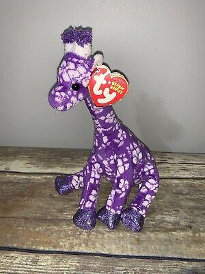 Ty Beanie Babies Sunnie Giraffe Purple Floral Stuffed Heart Tag Rare