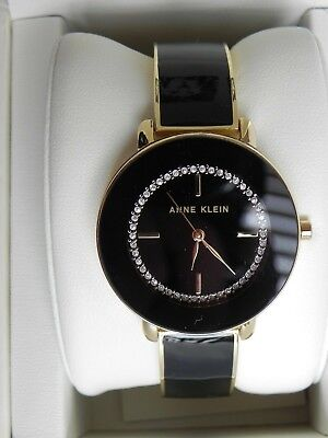 New Anne Klein AK/2908BKGB Gold Tone Crystal Black Stainless Steel Women's Watch