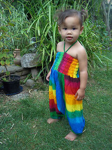Childrens girls baby harem pants jumpsuit rainbow baggy