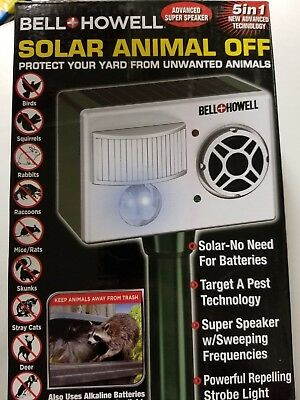 Bell+Howell 5 in1 Solar Animal Off New Advanced Technology Keep Animal Away