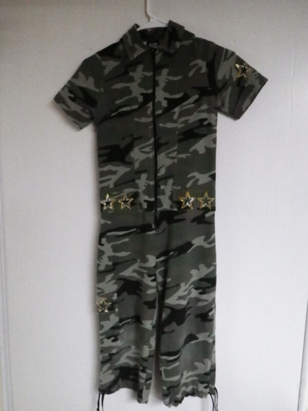 TEENS FUNKY DIVA CAMO GREEN STAR EMBELLISHED ARMY DANCE OUTFIT 8-10