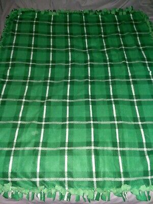 "Fleece Handmade Soft Tie Blanket Large Throw 50""X60"" Green/White Plaid"