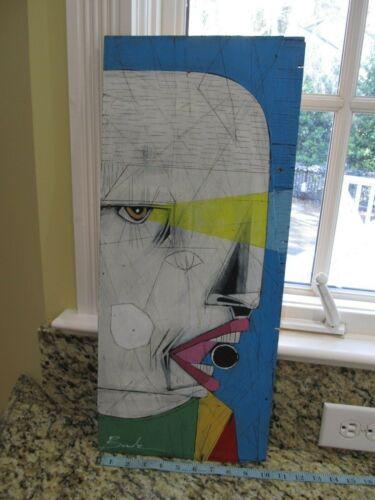"MICHAEL BANKS Outsider FOLK ART FACE PAINTING 10 x 23.5"" ALABAMA"