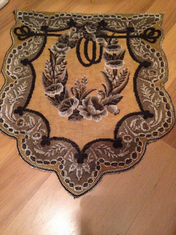 Antique Victorian Beadwork Beaded Needlepoint Panel