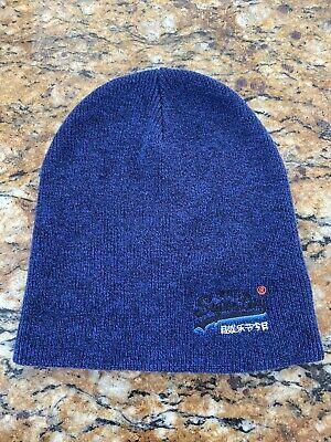 SUPERDRY  Men'S Navy Blue Heather Basic Cotton Orange Label Beanie Hat Super Dru
