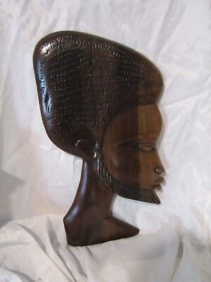"AFRICAN ART HAND CARVED Profile of African Man with Beard 18"" Tall"