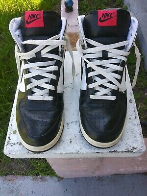 4ad20fd809 Vintage Nike Air Force Ones Leather High Top Sneakers Mens Size 10 White  Black
