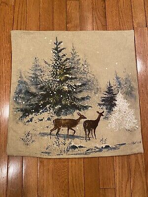 Pottery Barn Deer In Snow Winter Pillow Cover 20x20 Inches Retired
