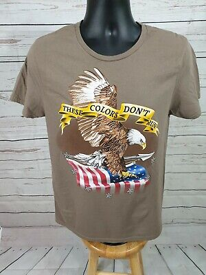 Spirit of America Patriotic T-Shirt Mens Med Brown Eagle These Colors Don't Run  (Color Run Shirts)