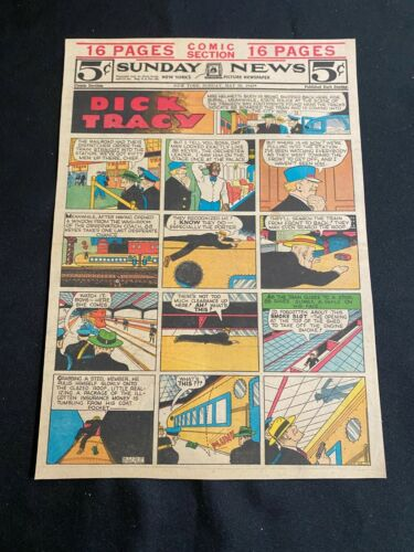 #95A DICK TRACY By Chester Gould Lot of 6 Sunday Tabloid Full Page Strips 1943
