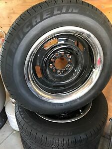 """Crager 15"""" multifit rims.  205/65/15 comes with caps"""