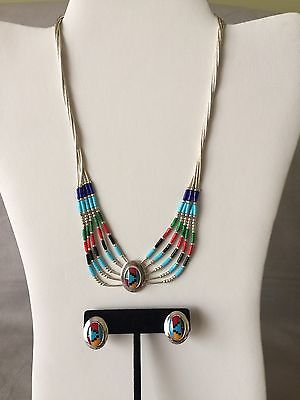 Multi-Color Southwestern-Style Necklace and Earrings Set Sterling