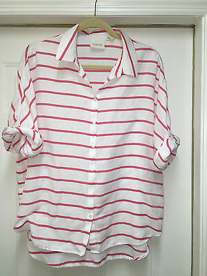 CHICO'S  white pink striped Cotton Top Women's SIZE 2 L CASUAL