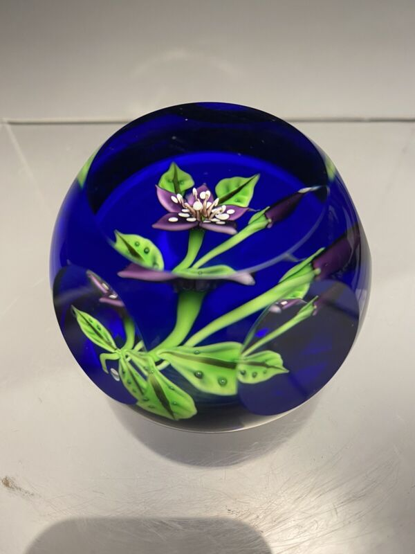 Rare Caithness 1996 William Manson Orchid Paperweight 24/150