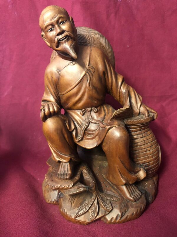Wood Carving Chinaman Sitting Vintage!