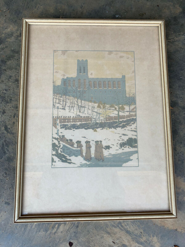 VINTAGE EARLY WEST POINT CADET  CHAPEL WATER COLOR PICTURE