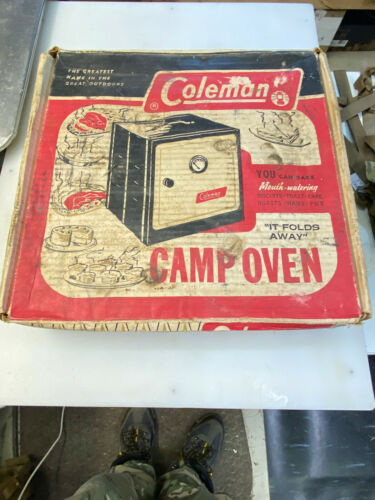 OLD Coleman Folding Camp Oven Stove W/ Original Box & Instructions - DATED 1951