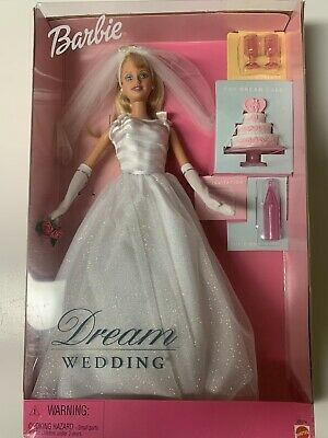 "BARBIE ""DREAM  WEDDING"" Doll 2000 NIB Mattel Toys 27374 White Dress"