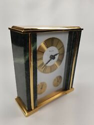 Bulova - Executive Desk Mantel Clock Brass & Green Marble Thermometer Hygrometer