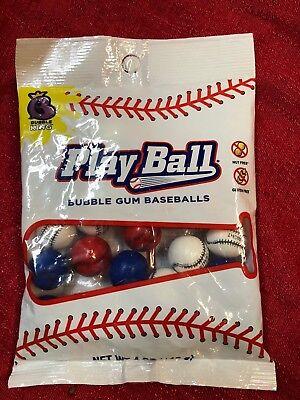 Play Ball GUMBALLS BASEBALL BUBBLE GUM -1 inch- Red White Blue - 4 Oz Bag](Baseball Gumballs)