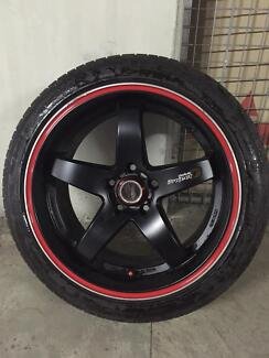 Lenso D1R 18 x 9 black wheels and Michelin pilot tyres Ryde Area Preview