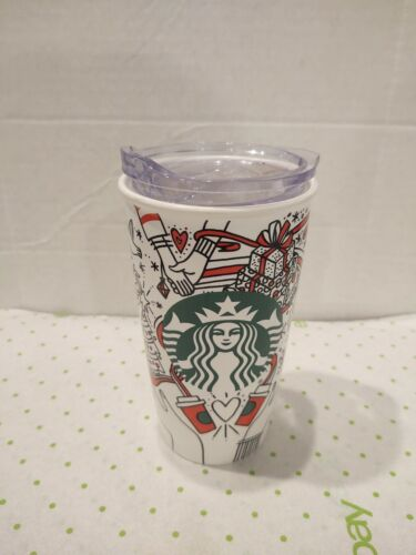 Starbucks Siren Christmas Travel Mug Tumbler Red Green Hands