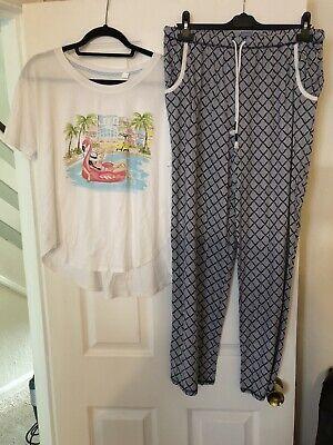 Jane&Bleecker Ladies Summer Pyjamas Size Med White / Navy