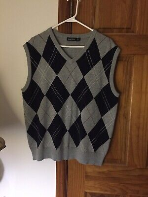 Nautica Mens Sweater Vest V Neck Size XL Gray Navy Blue Excellent!