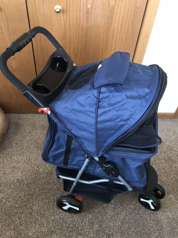 3 Wheel Pet Stroller for Sm/Med Dogs/Cats. Foldable & Water Resistant.