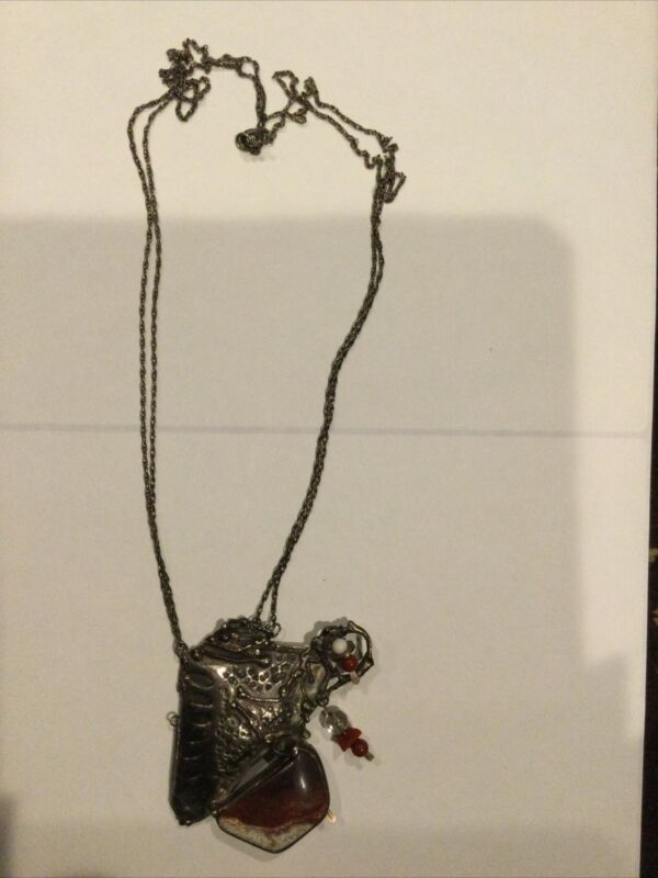 Signed Artisan CATHLEEN MCLAIN Brutalist Necklace With Sterling Silver Pendant
