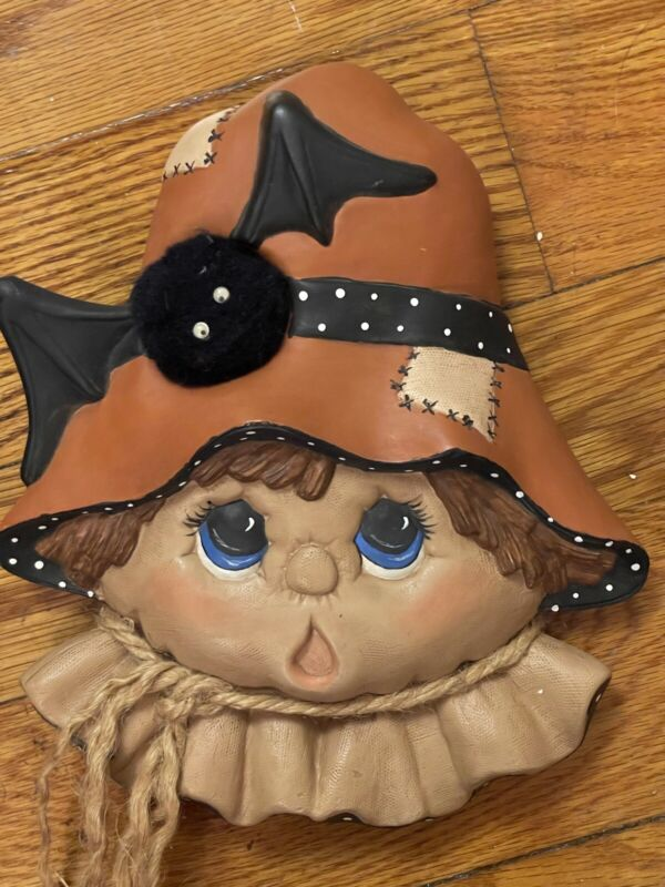 Handpainted Ceramic and Cloth scarecrow wall hanging. Halloween. Fun. Fall