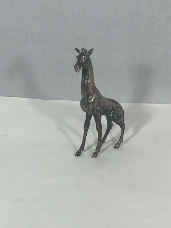 """925 Sterling Silver Giraffe Figurine Collectible 3"""" 1.150 ozt"""