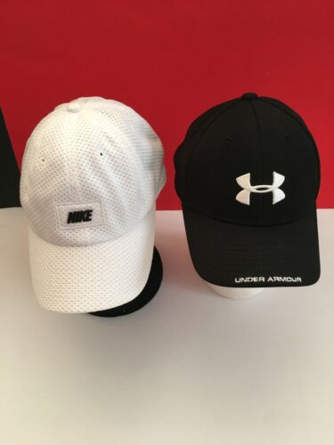 Youth Baseball hats Lot of 2  Adjustable Black Under Armour & White Nike VGUC