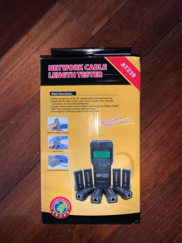 Network Cable Length Tester-at239 Cat5 Rj45 W/8 Remote Units Case And Manual