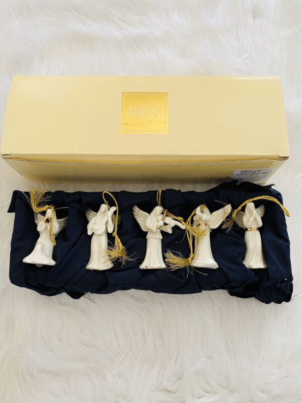 MIKASA HOLIDAY ELEGANCE CHRISTMAS ANGEL 5 PIECE PORCELAIN TREE ORNAMENTS NEW