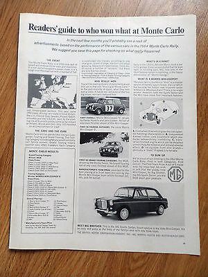 1964 MG Sports Sedan Ad  Meet Big Brother Monte Carlo