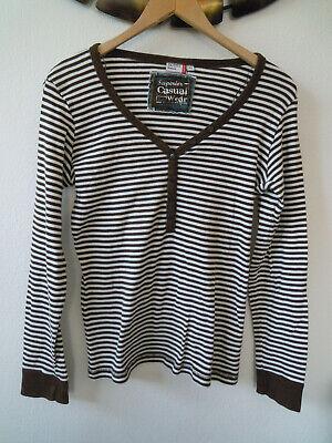 OUTFIT Marken Langarm Shirt Gr.42 M Baumwolle weiß/braun gestreift maritim Damen