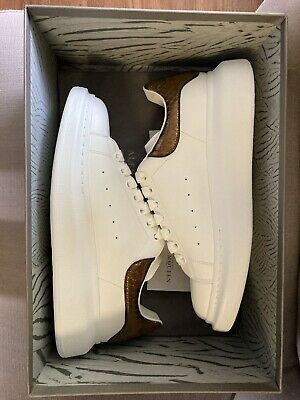 Alexander McQueen Oversized Sneakers Men's size 42/US Size 9(White/Gold/Bronze)