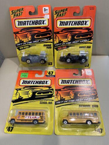 Lot Of 4 Matchbox 93-96 Rhino Rod School Bus New Sealed Mint On Card - $9.95