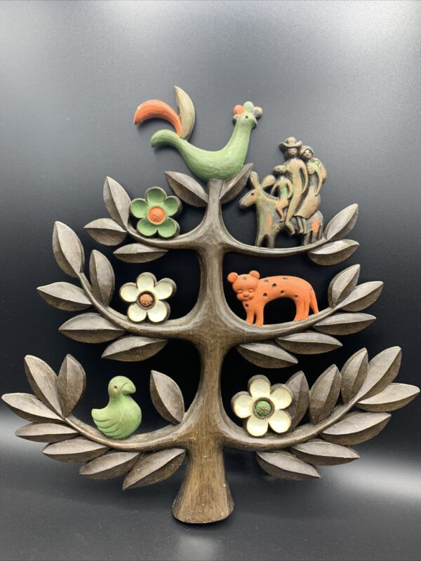Vintage Mid Century HOMCO Tree of Life Wall Plaque Folkart