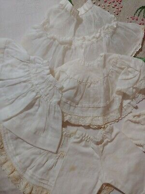 Vintage 6 Assorted Small Doll Half Slip Skirts Petticoats White Cotton Lace LOT