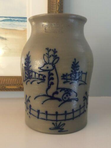 "Beaumont Bros Pottery~S Rucker Salt Glaze Stoneware Deer Crock~OH~1992~8 7/8"""