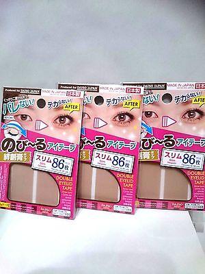 Daiso japan Double Fold Eyelid Adhesive Tape Sticker  Slim 86×3set Made in Japan