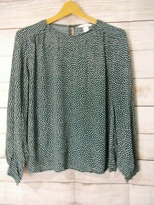 H&M Top Women's Size 12 Green Long Sleeve Flowy Top
