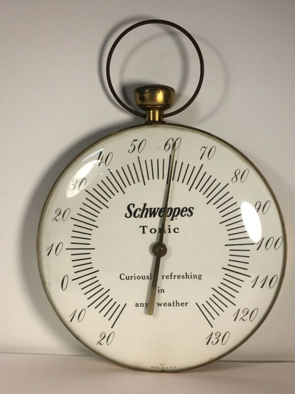 "12"" Wall Thermometer SCHWEPPES Tonic  Vintage Pocket Watch Shape"