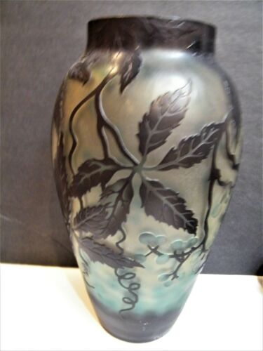 Large Cameo ART Nouveau Glass VASE Galle French Style Reproduction Acid Etched