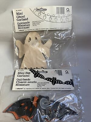 Vtg NOS Amscan Bat & Ghost Halloween Garland Tissue Paper Black White 10 FT #H